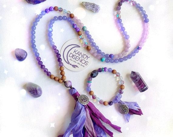 Shakti 108 Mala Necklace & Bracelet Sari Silk Tassel | Shakti Mala Set 6th Chakra | Third Eye Chakra Balance Healing Jewelry Set Adi Shakti