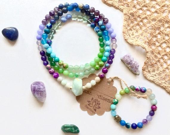 108 Mala Necklace & Bracelet Jewelry Set | Wisdom ॐ Intuition Mala Set | Yoga Jewelry | Amethyst, Lapis, Amazonite, Fluorite