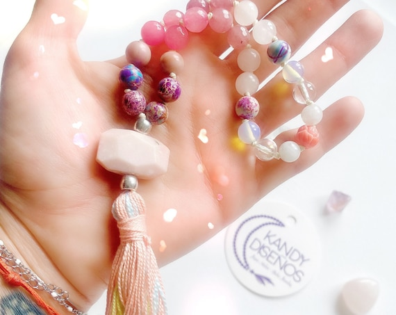 Grace Moonstone Pocket Mala. 27 beads Mala for Love & Balance. Opal, Rose Quartz Jasper Moonstone Quarter Mala with tassel. Yoga jewelry