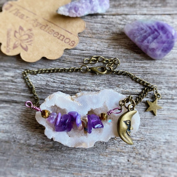 Amethyst Anklet Moonlight with Moon Stars, healing Crystals anklet, Boho jewellery, Boho Bracelet Summer Ibiza Beach Jewelry Stack Bracelet