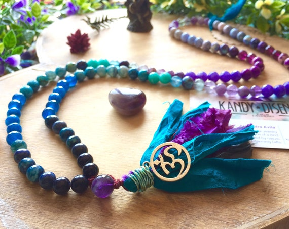 108 Mala Necklace Mystical Child Sari Silk tassel: Lapislazuli Mala Amethyst, Quartz Japa Mala beads, Yoga gift, Yoga jewelry, meditation