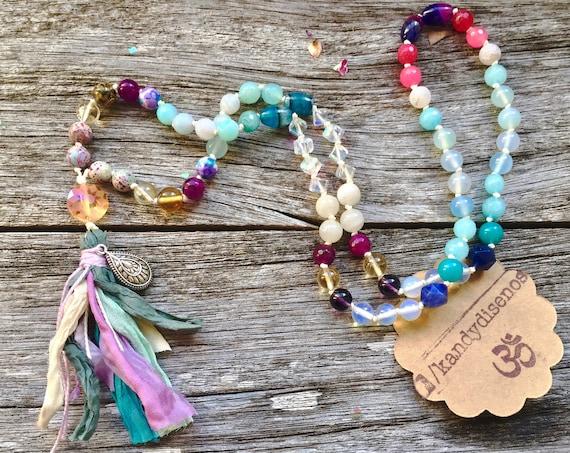Mermaid Necklace Mala | Women Yoga jewelry | Moonstone Citrine Mala Inspired Necklace | Yogi Jewelry For Women Gift | Mini Mermaid Mala