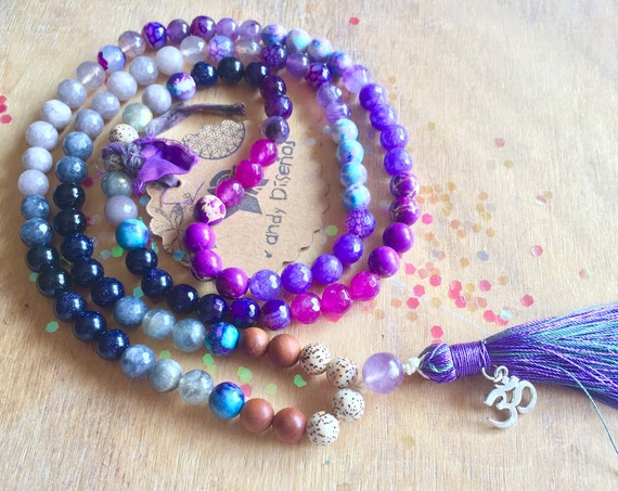 Protection 108 Mala Necklace, Japa Mala for Protection, Third Eye Chakra, Intuition. 8mm Amethyst Onyx Lotus Seeds Sandalwood Prayer beads