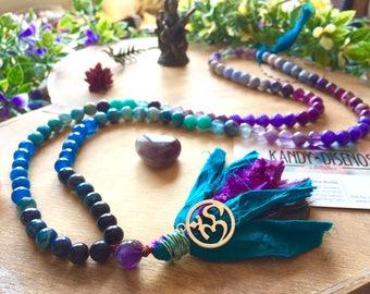 108 Mala Necklace Sari Silk tassel. Mystical Child: Lapislazuli Mala Amethyst, 108 Mala beads, Yoga gift, Quartz Japa Mala, Yoga jewelry