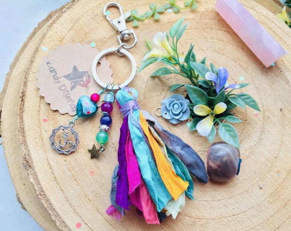 Boho Keychain. Crystal Keychain. Tassel Keychain for women ॐ Hippie Boho Key Chain. Multicolor Key Ring. Sari Silk Tassel Ohm Charms Keyring