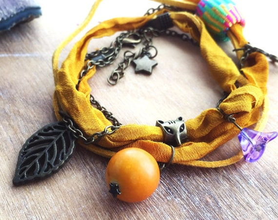Sunshine Wrap bracelet. Sari Silk Boho anklet women Bracelet. Multiway 3 in 1 Mustard anklet with Charms. Beach Summer Ibiza bohemian anklet