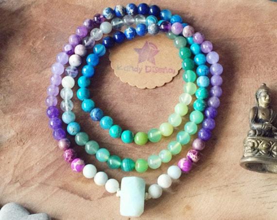 Wisdom & Intuition 108 Mala Necklace with Amazonite ॐ Chakra Stones Japa Mala Amethyst, Chakra Jewelry, prayer beads, yoga gifts meditation