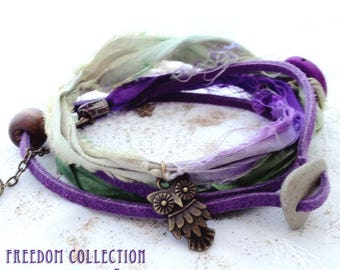 Ankle Wrap Bracelet. Sari Silk Wrap Anklet. Boho jewelry, Natural Stone, Grape Purple Green Silk. Summer Feeling Multiway Jewelry Bohemian
