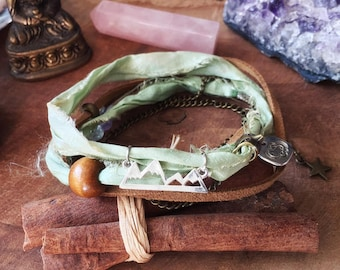 Mountain Wrap bracelet. Sari Silk Boho ankle Bracelet. Forest green anklet with Charms Multiway 3 in 1. Sari silk bohemian anklet boho