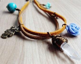 Clear Quartz Owl Bracelet. Healing Bracelet. Turquoise Stone Flowers Bracelet. Boho Jewelry. Raw Quartz Charm Bracelet Whimsy Woodland