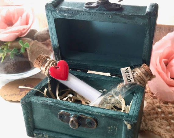 Secret Message Box. Love Gift. Message in bottle wood box. Message card Set of 2 box. Heart & Make a wish Bottle, Wedding Friendship gift