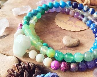 Wisdom & Intuition 108 Mala Necklace Quartz Pendant ॐ Japa Mala: Amazonite Jasper Amethyst Mala, 108 Mala beads, Yoga gift, Yoga jewelry