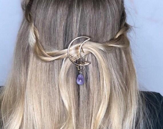Moon hair clip. Moon hair pin. Gold Moon Pin, Crescent Moon Star Amethyst hair clip, Bohemian hair, Crystal Moon Hair Clip, Moon hair piece