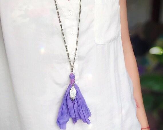 Boho Sari Silk Tassel Necklace with Charm ॐ Custom Boho Hippie Jewelry