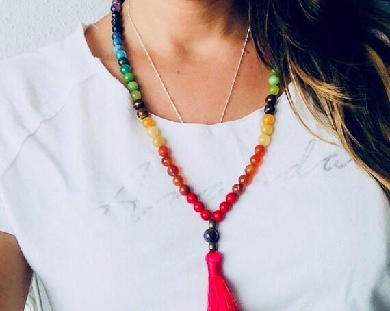 Chakra Mala Beads Inspired necklace | Mini Mala Chakras | Chakra Mala Beads | Chakra Stones necklace | Meditation beads | Chakra necklace