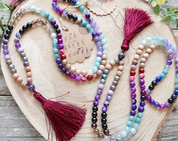 Protection 108 Japa Mala Necklace ॐ Protective Mala Amulet 8mm Onyx, Amethyst, Smoky Quartz, Jasper - Meditation Gifts - Yoga Jewelry