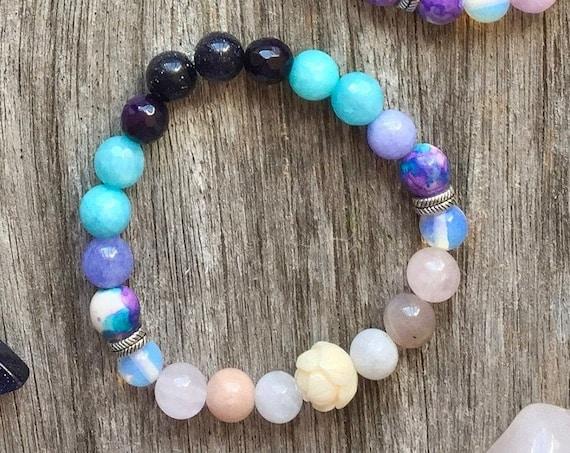 Mala Bracelet Moon Child, Moon Crystal bracelet Healing Mantra Ra Ma Da Sa, Moonstone, Rose Quartz, Jasper Boho bracelet