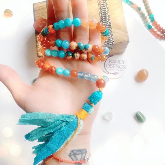 108 Mala Necklace India. Buddha Necklace Mala Boho Tassel 8mm. Sacral Chakra Mala Carnelian Agate Jasper, Mala beads, Japa Mala