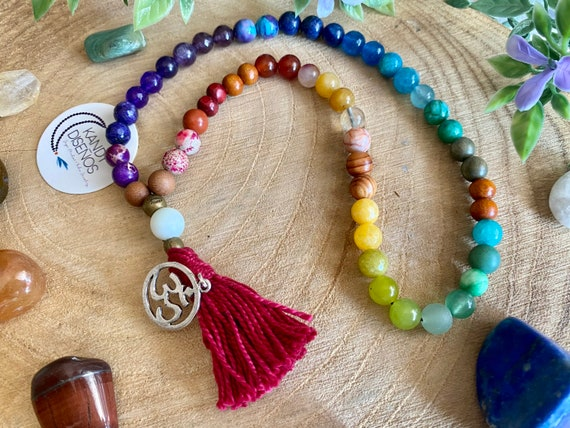 Wrap Mala Chakras Balance | Mala Beads | 54 beads Wrist Mala for all Chakras, Balance & Healing | 8mm Chakra Stones, Japa Mala Yoga jewelry