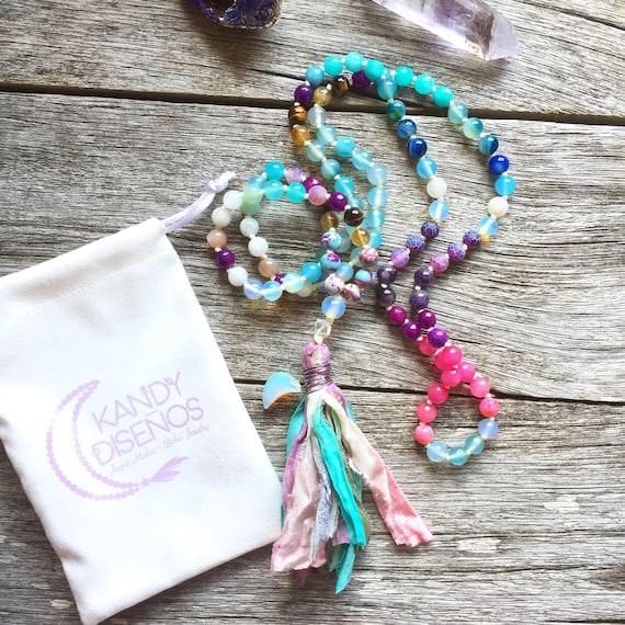 Mermaid Mala Necklace: 108 beads Japa Mala with Sari Silk tassel & Crystal Crescent Moon - Citrine Moonstone Amazonite Crystals