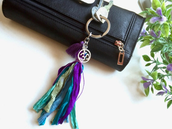 Boho Tassel Keychain for women ॐ Yoga Boho Keychain. Sari Silk Tassel Ohm Key ring