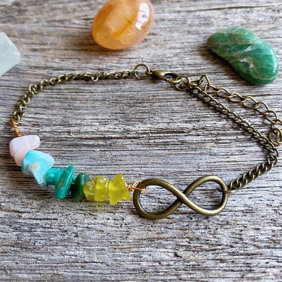 Infinity Anklet Boho with Pink Opal Aquamarine, Crystal anklet Eternity, Boho jewelry Infinity, Boho Bracelet Summer Ibiza Beach Jewelry