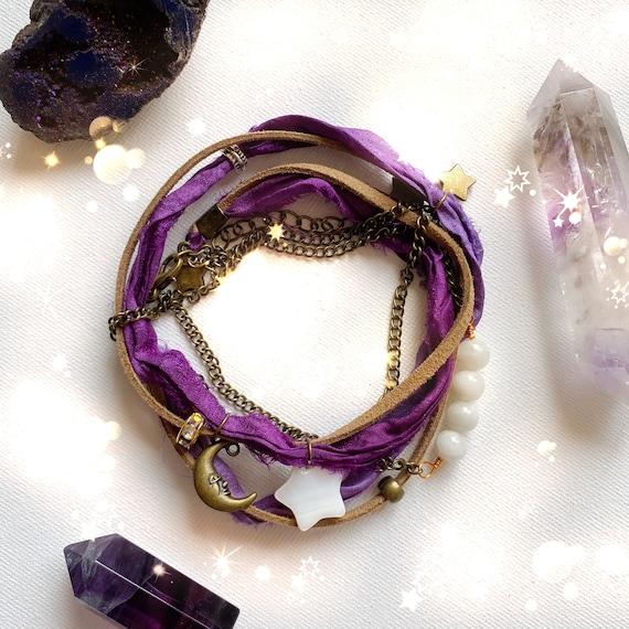 Boho Sari Silk Bracelet Moon Stars | Bohemian wrap bracelet Moonstone | anklet bohemian Sari Silk & Bead Bracelet