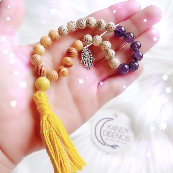 27 beads Pocket Mala for Protection with Hamsa Hand, Amethyst Protective Wood Lotus Seeds. Quarter Mala with tassel. Yoga jewelry Meditation