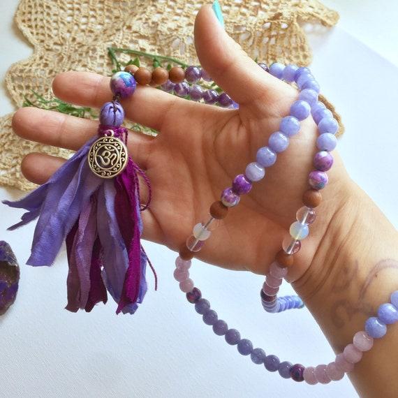 Shakti 108 beads Mala Necklace Sari Silk Tassel   6th Chakra Japa Mala   Third Eye Chakra 108 Mala   8mm Mala Amethyst Sandalwood Gemstones