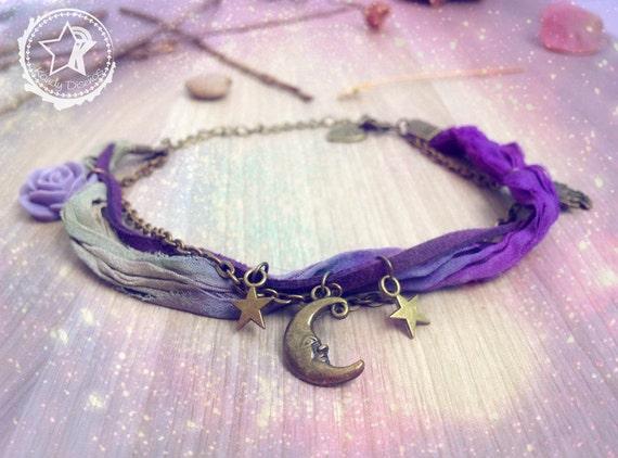 Moon Stars ankle bracelet. Purple anklet. Moon jewelry purple Sari silk, bohemian anklet, boho owl anklet, star anklet, boho jewelry, star