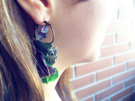 Fluorite Owl Loops Sari Silk Green Purple Earrings. Raw crystal earrings, healing hoops earrings, boho healing jewelry whimsical