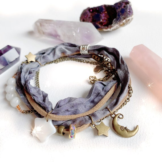 Bohemian Sari Silk Bracelet Moon Stars | Sari Silk & Bead Bracelet Boho wrap bracelet Moonstone | Beach Ibiza anklet bracelet for women