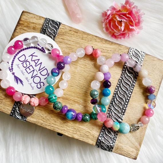 Bliss Mala Bracelets Heart Chakra. Yoga Jewelry Heart Energy Bracelet, Love Mala bracelet, Healing Bracelet, yoga gift, heart chakra stones