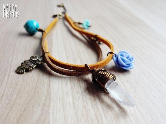 Crystal Ankle Bracelet Charms | Boho ankle bracelet | Clear Quartz Owl Healing Anklet Bracelet Turquoise Stone, Crystal Jewelry Ibiza Summer