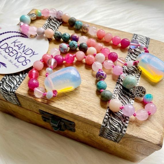 Bliss Pocket Mala Heart Chakra Opalite Pendant. 27 beads Mini Mala Heart Chakra Stones, Chakra Jewelry, Mala Yoga gift, Pocket Mala Yoga