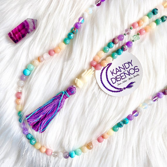 Zen Mala Necklace Chakra Japa Mala 108 Beads with Markers Tassel | Protection Mala | Chakra Stones Mala | Ganesha Mantra Mala | Yoga Jewelry
