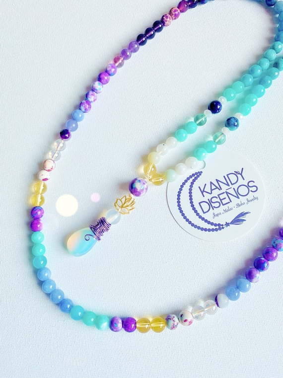 Lotus Mala 108 Beads Zen Mala Necklace   Amethyst Citrine Opal Mala, 108 Mala beads with Markers, Yoga gift, Quartz Japa Mala, Yoga jewelry