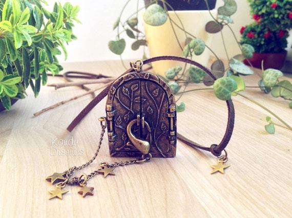 Forest door necklace, vintage locket necklace, enchanted door necklace, fairy door necklace, hobbit necklace, stars woodland necklace