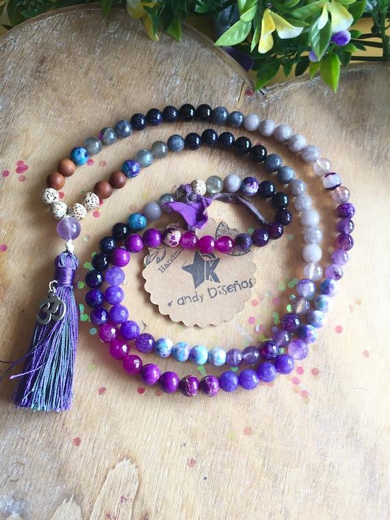 Protection 108 Mala Necklace | Protection & Third Eye Japa Mala Intuition | 8mm Amethyst Onyx Lotus Seeds Sandalwood Prayer beads