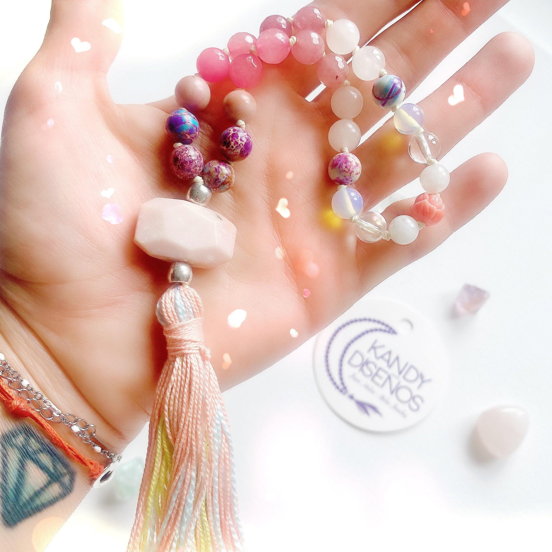 Love Chakra Reiki Crystal Healing Genuine Gemstones with Positive Affirmation I am Loved Rose Quartz Full Knotted Mala