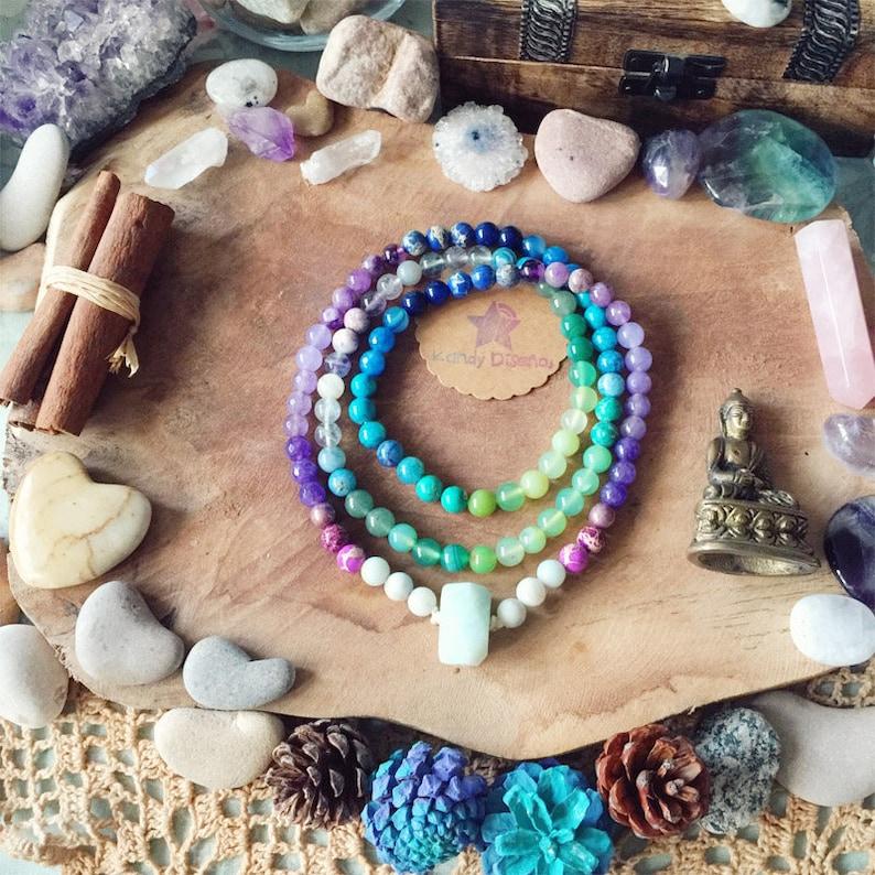 Wisdom & Intuition 108 Mala Necklace with Amazonite ॐ Chakra image 0