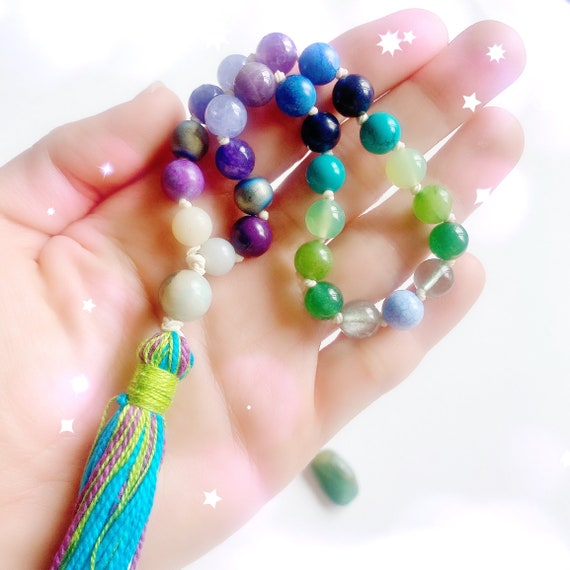 27 Beads Pocket Mala Wisdom & Intuition ॐ Mini Japa Mala: Amazonite Jasper Amethyst Quarter Mala, 27 Mala beads, Yoga gift, Yoga jewelry