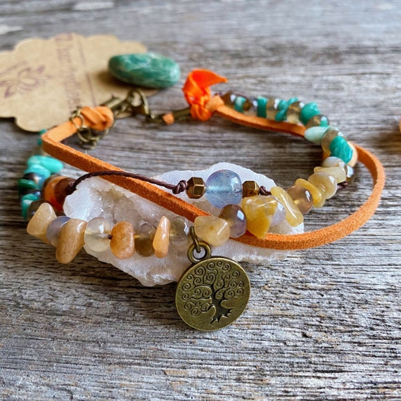 Bohemian Anklet Tree of Life. Boho Crystal anklet. Stack Beaded Bracelets. Boho Ankle Bracelet Summer Ibiza Beach Jewelry. Boho jewellery