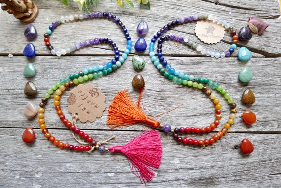 Chakras 108 Mala Necklace with tassel. Chakra Mala: Chakra Stones Mala, Chakra Jewelry, 108 Mala beads. 8mm Quartz Japa Mala