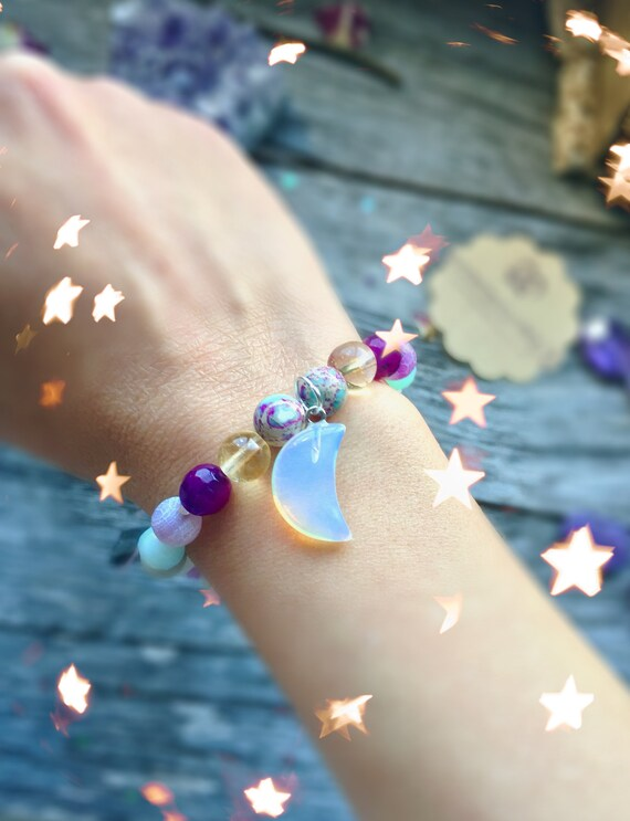 Mermaid bracelet with Crystal Moon & tassel | Gemstone Mala Bracelet for Protection | Boho Crystal bracelet Moonstone Jasper Amazonite