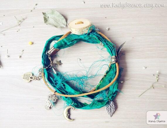 Anklet bracelet Boho Forest Woodland Night  | Organic Birch Wood, Sari Silk, Fox Multiway Ankle Bracelet Necklace | Woodland Jewelry Fairies