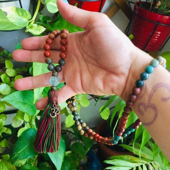 108 Mala Necklace Self Confidence Solar Plexus Chakra Mala with Tassel. Tiger Eye Mala Red Jasper, Mala beads, Japa Mala, gift Yoga jewelry