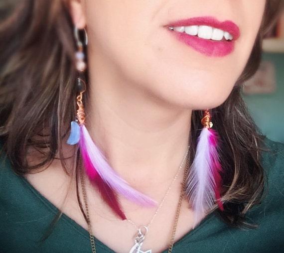 Boho Long Feathers Earrings Cruelty free Opalite Moon & Heart | Deluxe Bohemian feathers Sterling Silver earrings | Multicolor Long Feathers