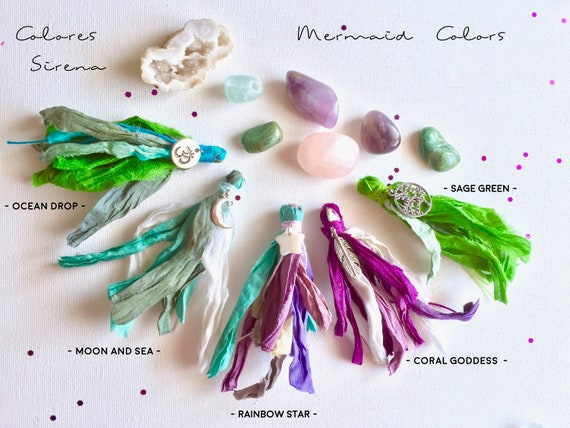 Boho Sari Silk tassel for Mala Beads, Hippie Tassel for DIY projects ॐ Bohemian Sari Silk Tassels with Charms ॐ  lots of colors to choose!