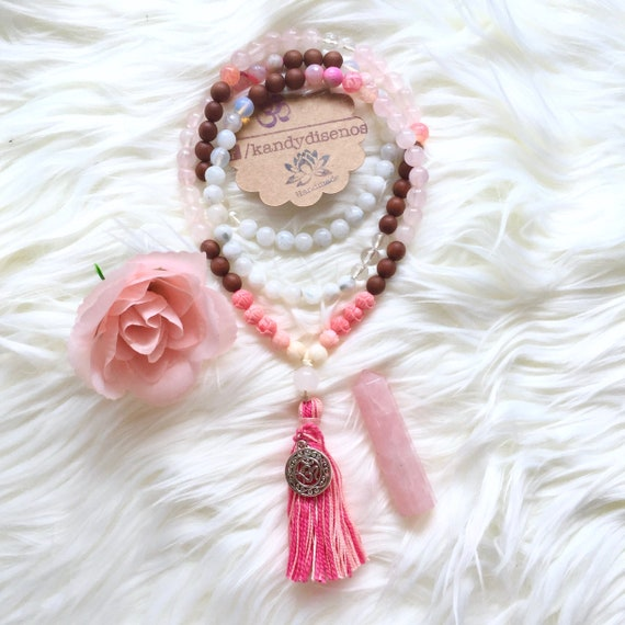 Bloom Moonstone 108 Mala Necklace for Love & Changes. Rose Quartz, Rhodonite, Moonstone, Sandalwood prayer beads with tassel. Yoga jewelry